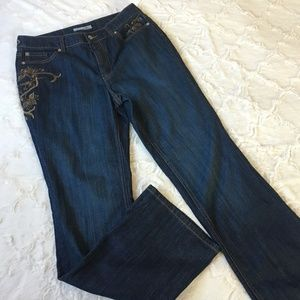 Chico's Platinum High Rise Embroidery Jeans